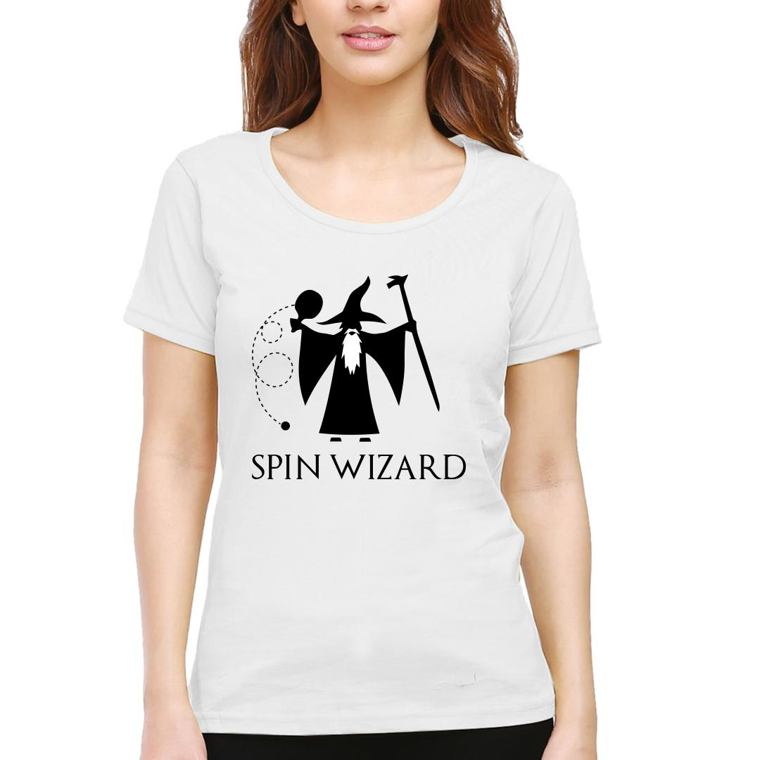 2fa89abb Spin Wizard Creative Funny Quirky Table Tennis Tt Player Gift Women Round Neck T Shirt White Front