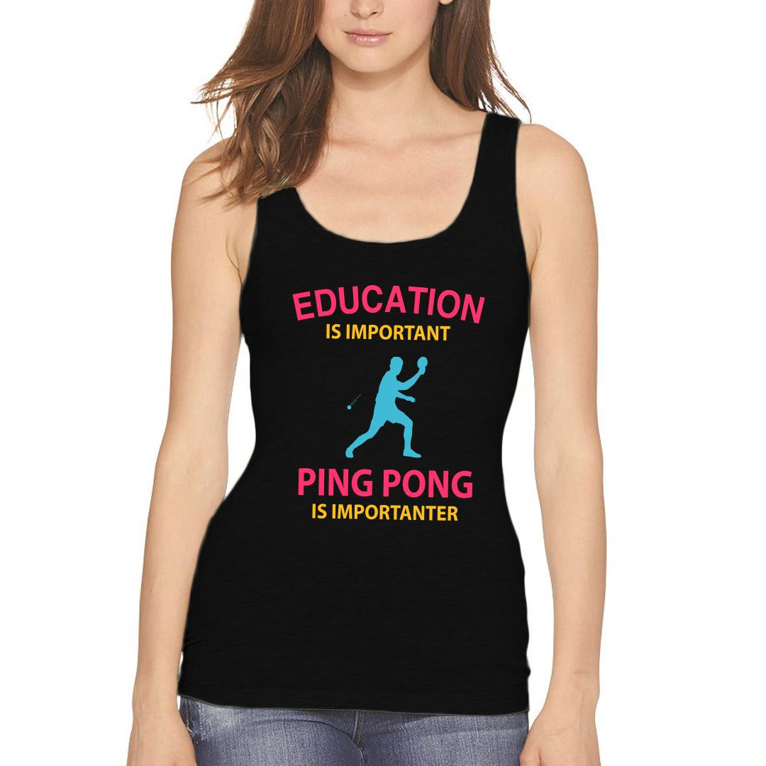 302533bb Education Is Important Running Is Importanter Funny Table Tennis Tt Women Tank Top Black Front