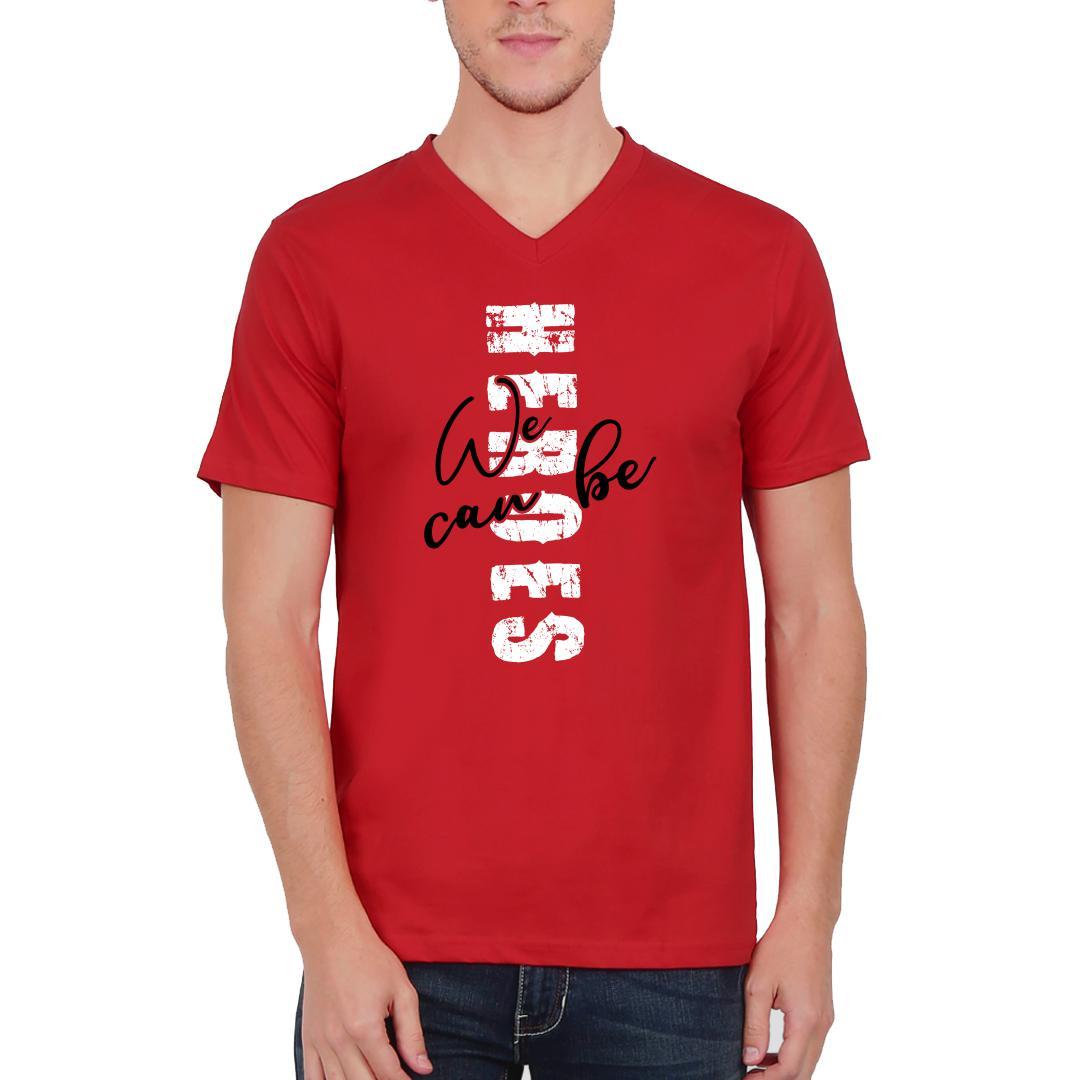 385c41e4 Heroes Red Men V Neck T Shirt Red Front