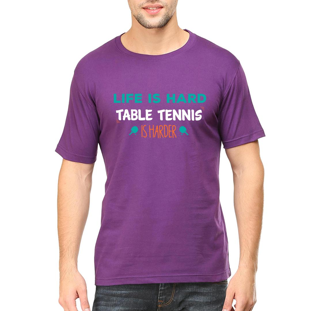 3a1d6ea7 Life Is Hard Table Tennis Is Harder Tt Player Giftmen Round Neck T Shirt Purple Front
