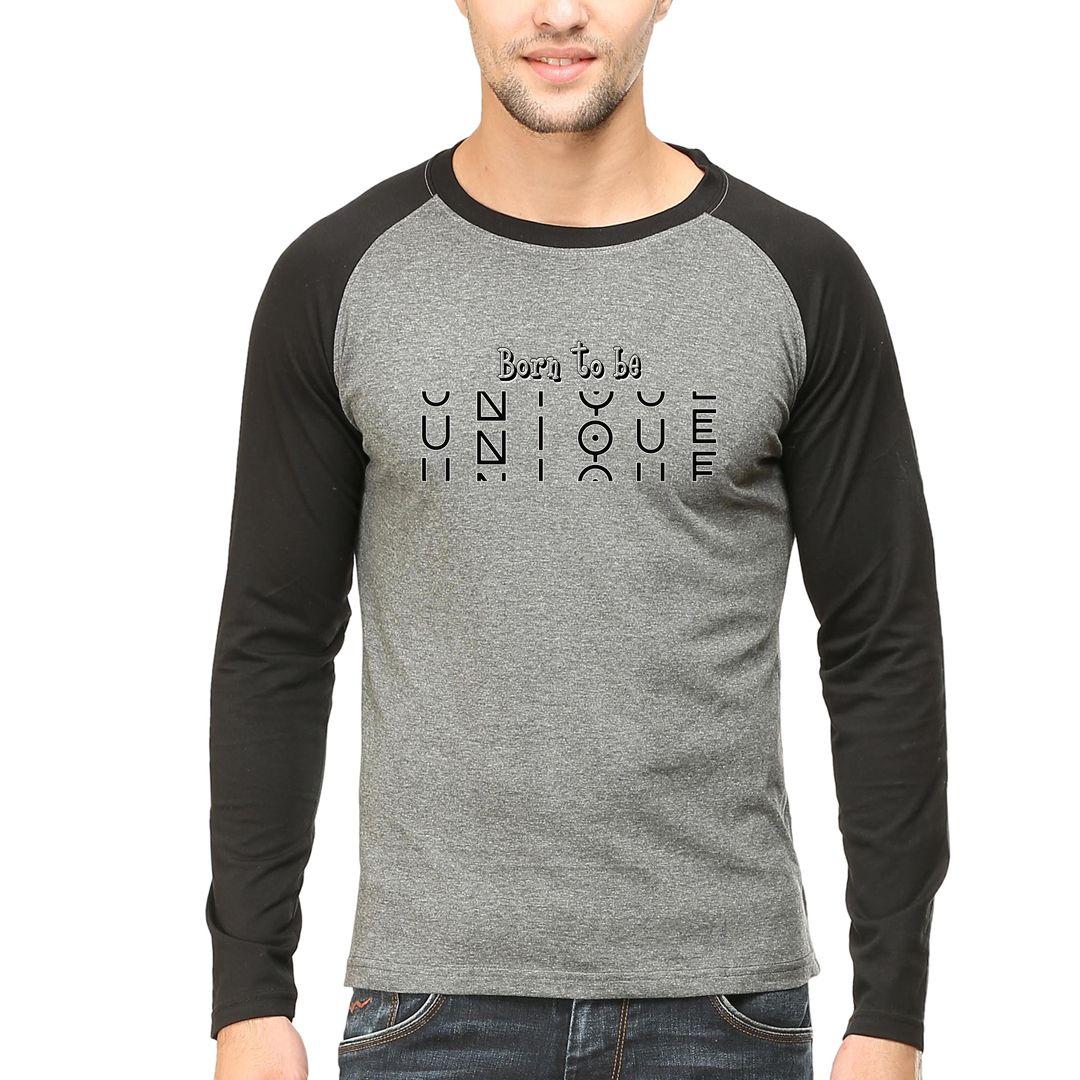 3efd343b Born To Be Unique Men Raglan Full Sleeve T Shirt Black Charcoal Front.jpg