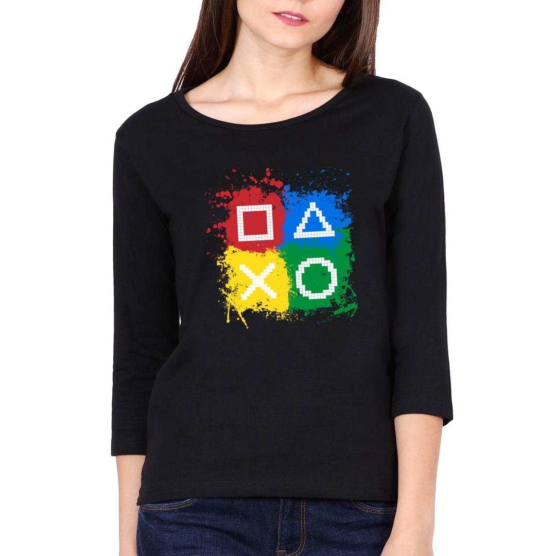 42fc290a Gaming Controls For Gaming Lovers Gamers Women Full Sleeve T Shirt Black Front