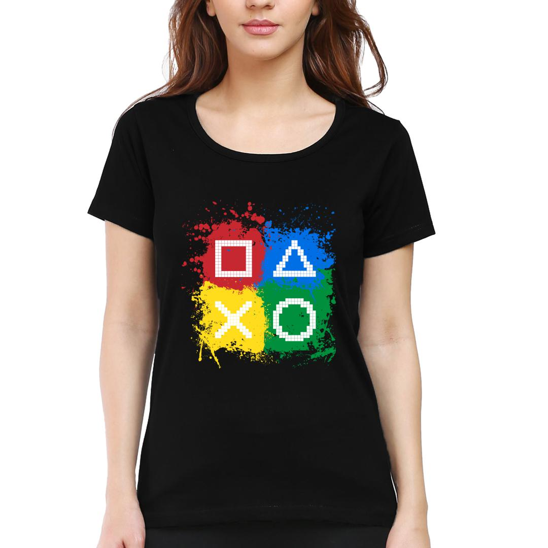 45518f12 Gaming Controls For Gaming Lovers Gamers Women Round Neck T Shirt Black Front