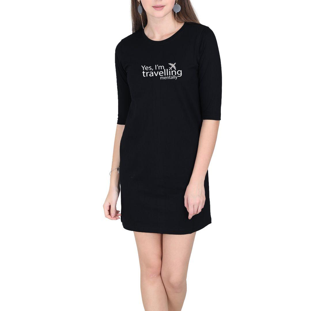 491dc936 Travelling Mentally Women T Shirt Dress Black Front.jpg
