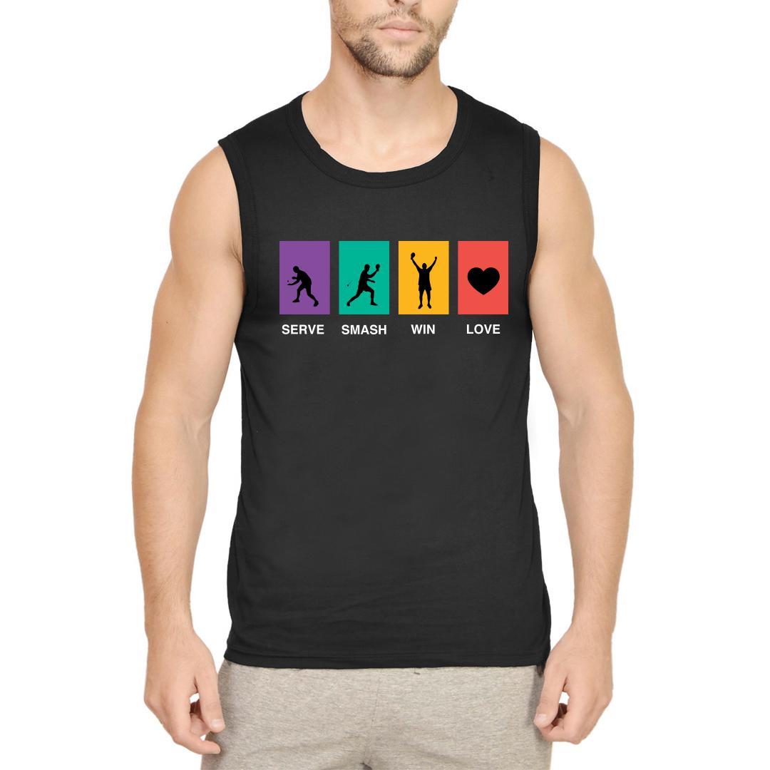 50868e17 Serve Smash Win Love Table Tennis Gift Tt Player Men Sleeveless T Shirt Black Front