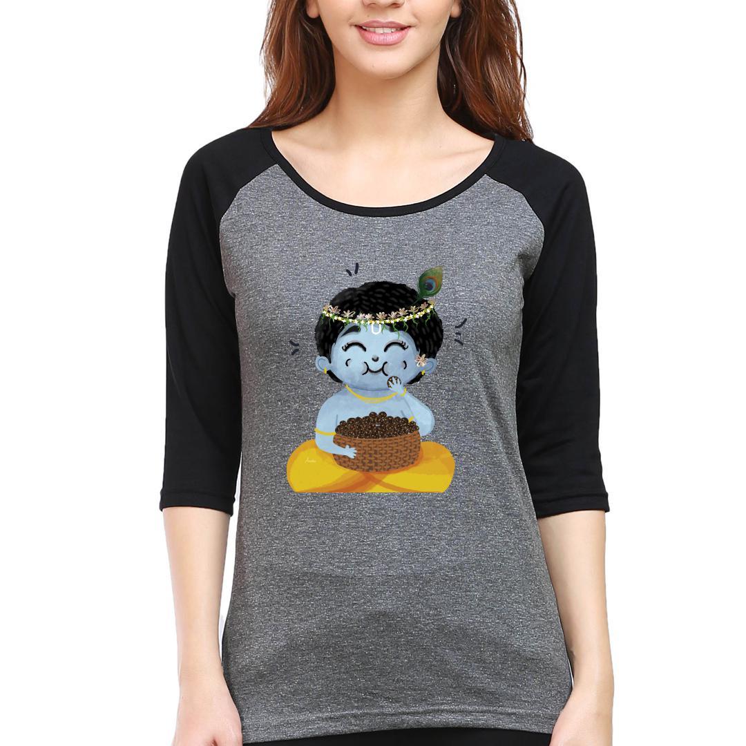 5f12db09 Chubby Little Krishna Women Raglan T Shirt Black Charcoal Front