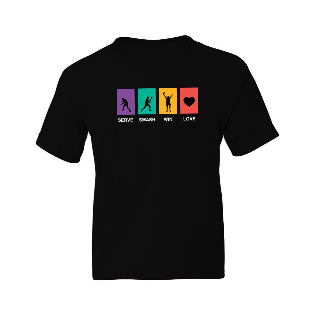 617caa65 Serve Smash Win Love Table Tennis Gift Tt Player Kids T Shirt Black Front
