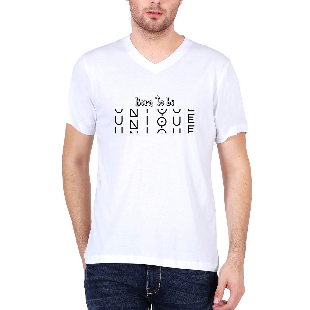 69d06b37 Born To Be Unique Men V Neck T Shirt White Front.jpg