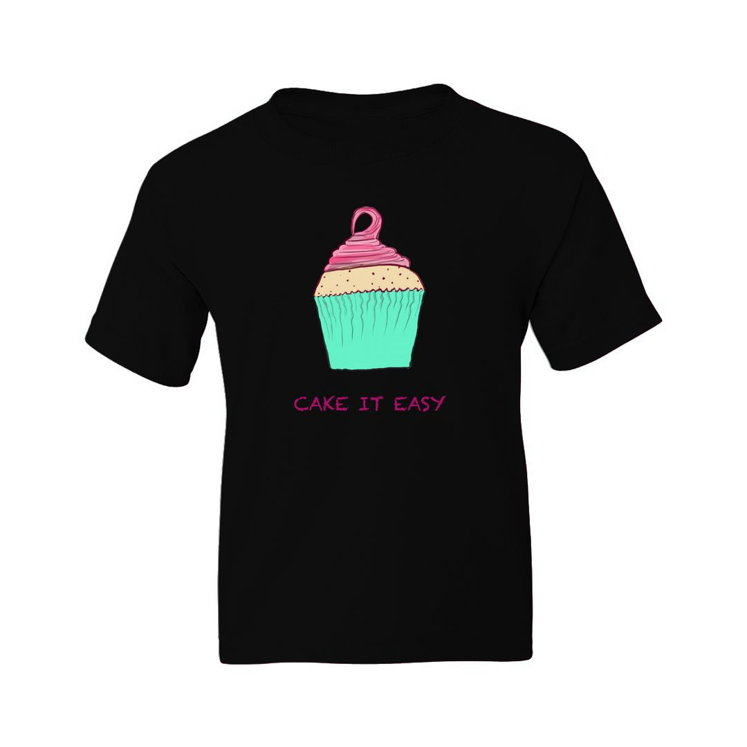 6e6c83ab Cake It Easy For Cake Lovers Kids T Shirt Black Front.jpg