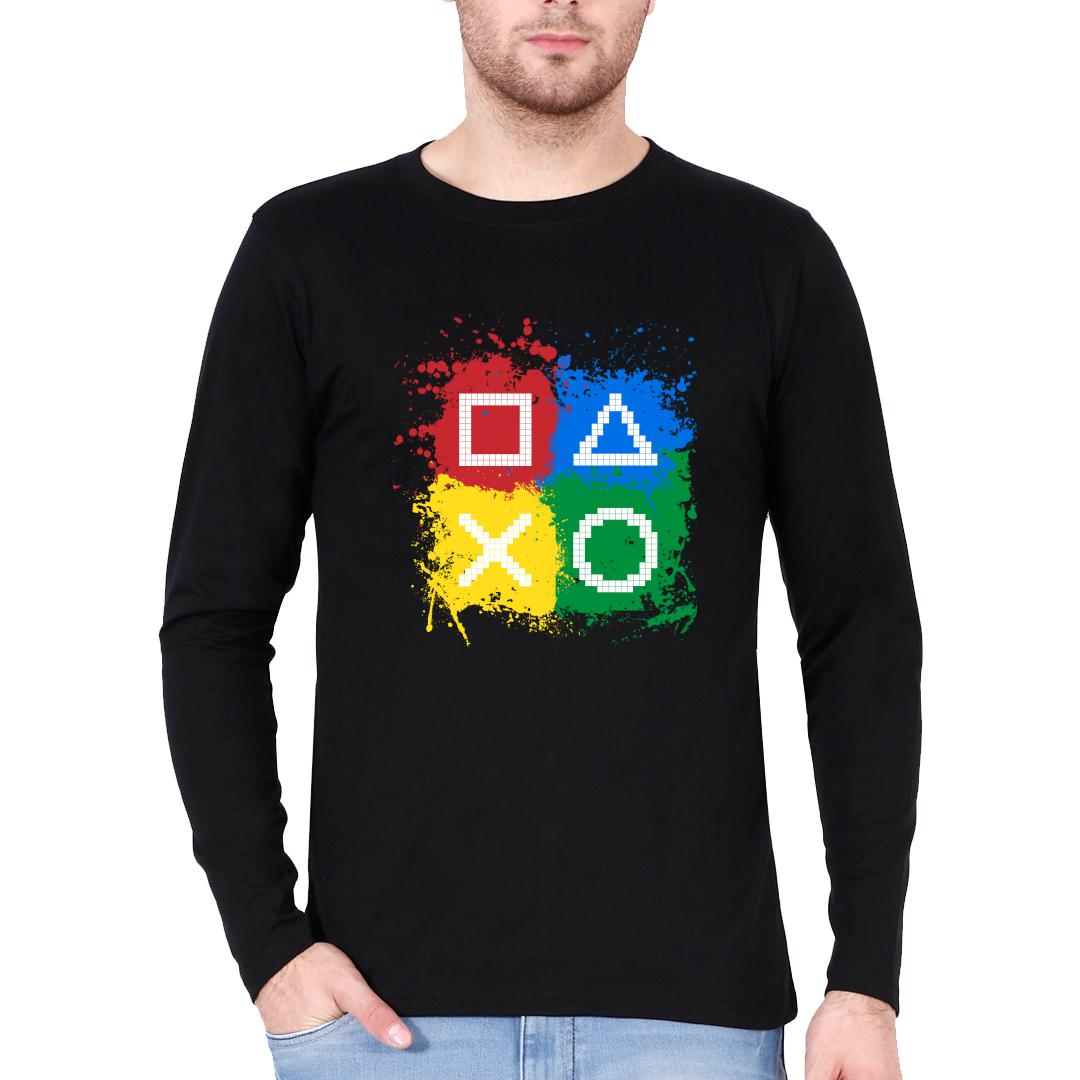 71361874 Gaming Controls For Gaming Lovers Gamers Men Full Sleeve T Shirt Black Front