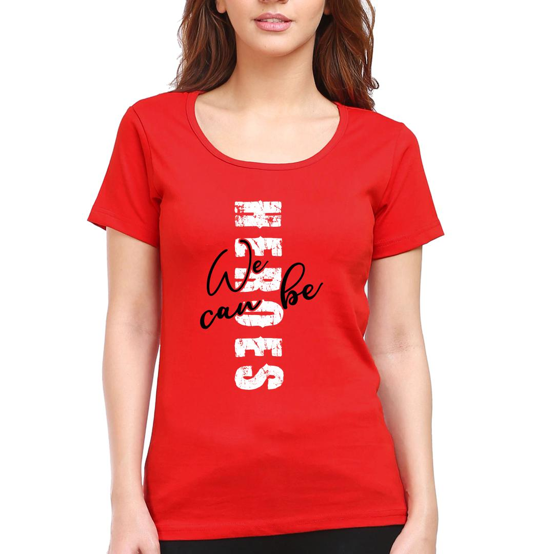76127368 Heroes Red Women Round Neck T Shirt Red Front