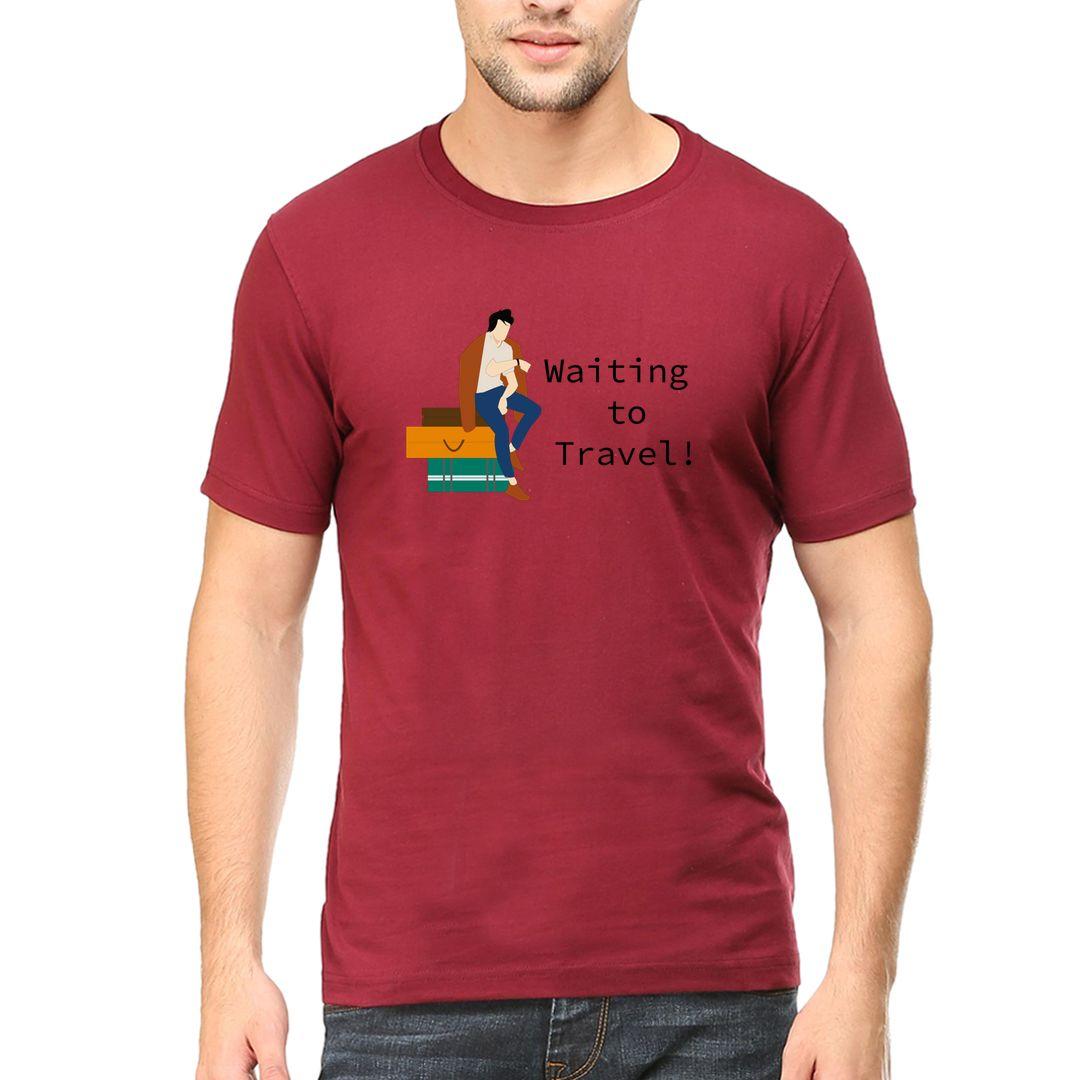 81b26cd4 Waiting To Travel Men T Shirt Maroon Front.jpg