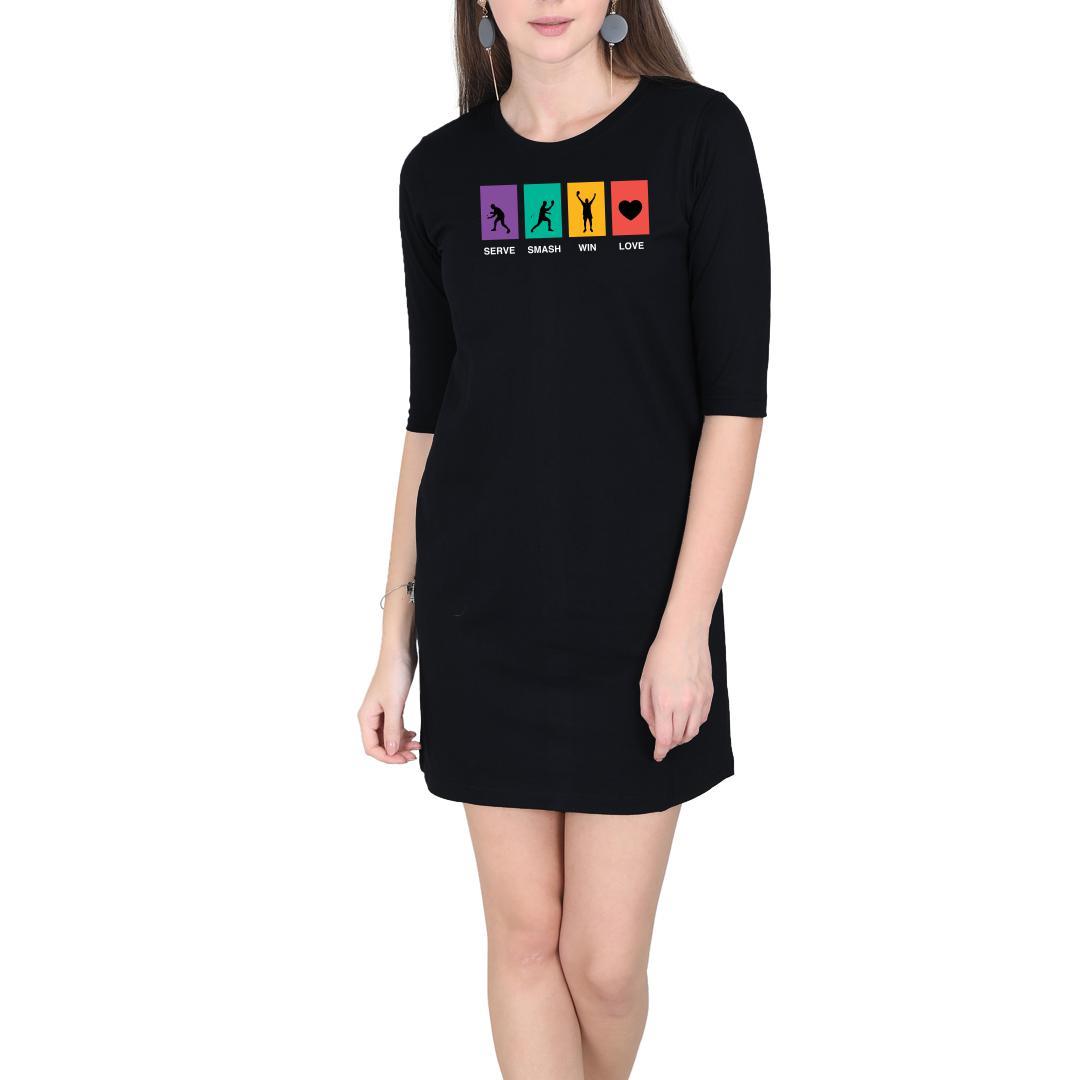 825ffa1d Serve Smash Win Love Table Tennis Gift Tt Player Women T Shirt Dress Black Front