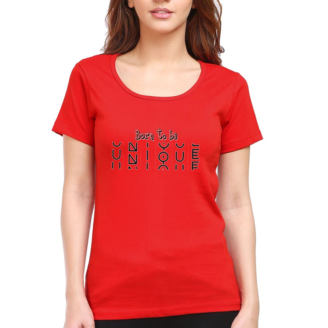 895dcbfd Born To Be Unique Women T Shirt Red Front.jpg