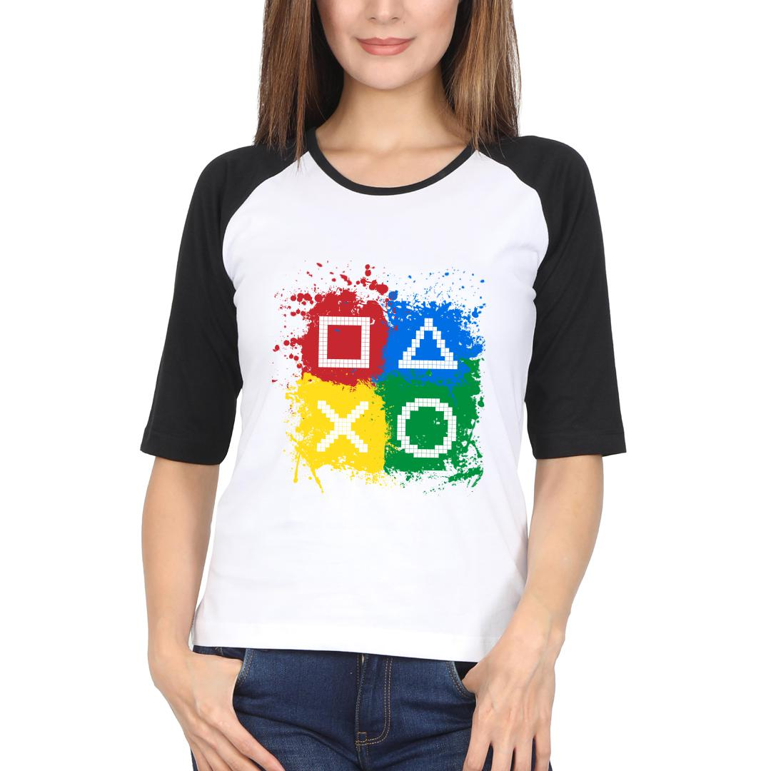 8d2a3761 Gaming Controls For Gaming Lovers Gamers Women Raglan T Shirt Black White Front