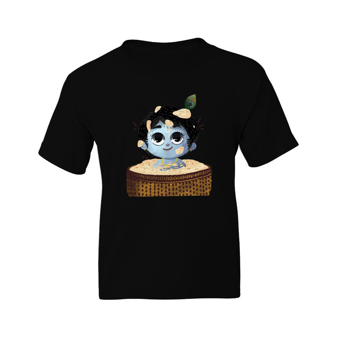 92002b7c Cute Baby Krishna Kids T Shirt Black Front