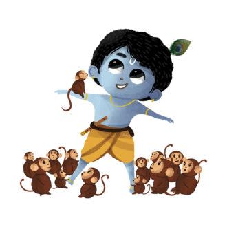 a49e2368 naughty krishna with monkeys
