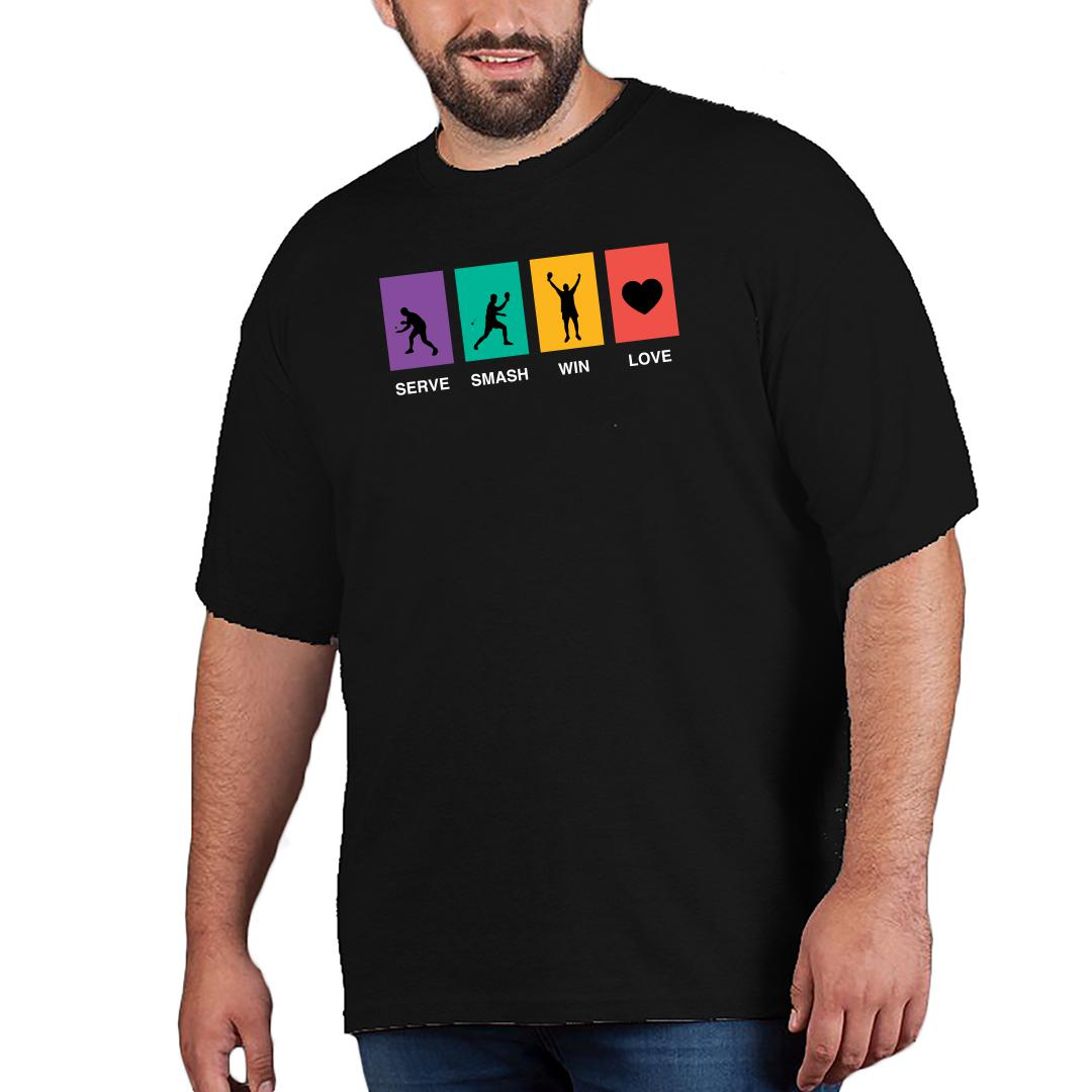 A9b7db4c Serve Smash Win Love Table Tennis Gift Tt Player Men Plus Size T Shirt Black Front