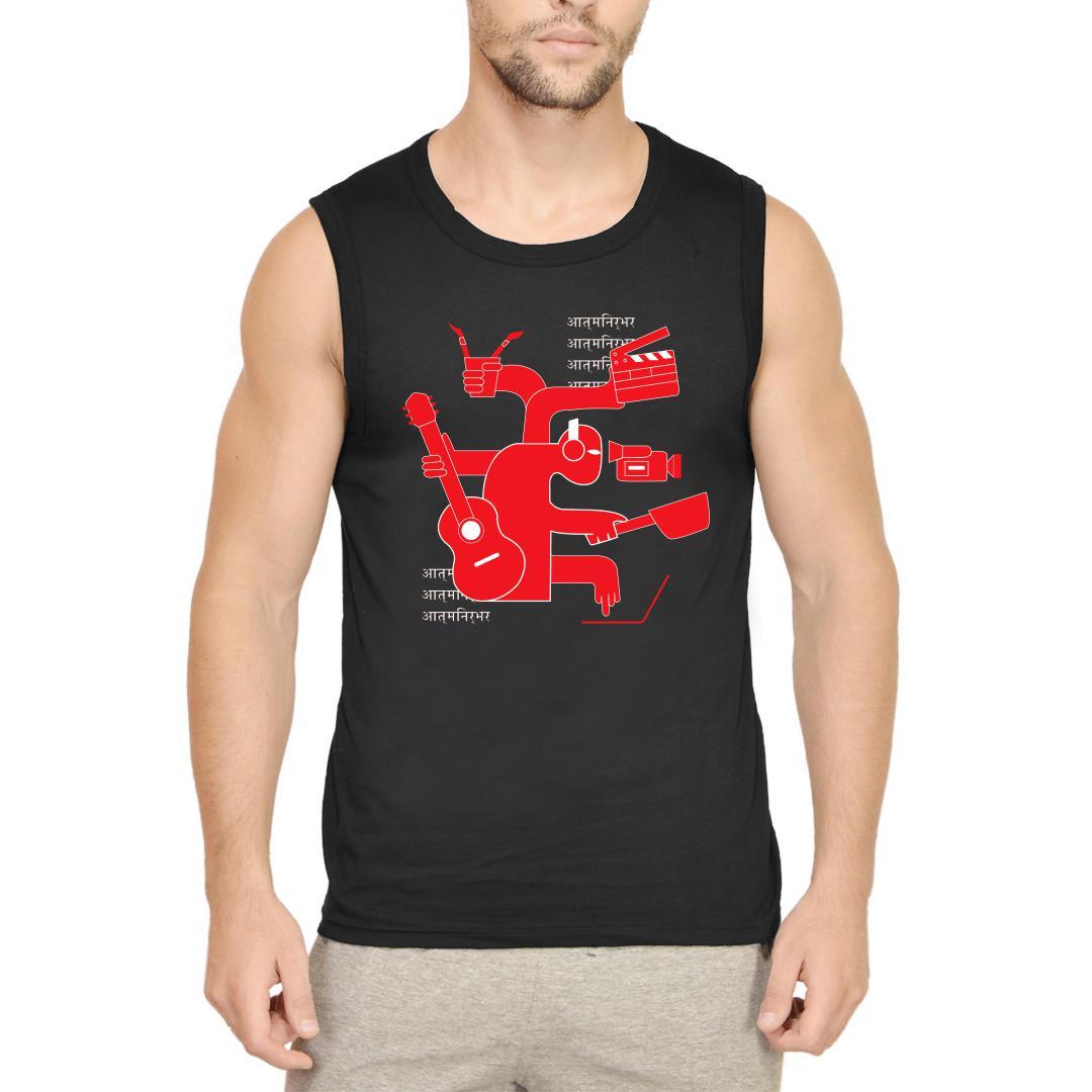 Aacc2e10 Aatmanirbhar Artist Men Sleeveless T Shirt Black Front