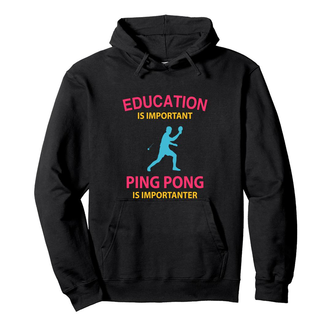 Afc85834 Education Is Important Running Is Importanter Funny Table Tennis Tt Unisex Hoodie Black Front