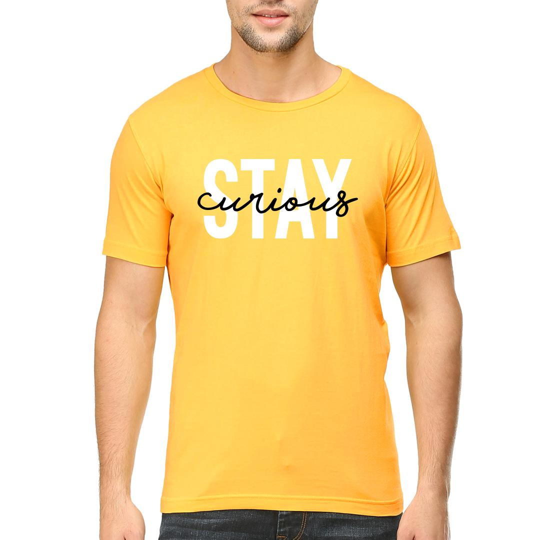 B68c6e45 Stay Curiousmen Round Neck T Shirt Yellow Front