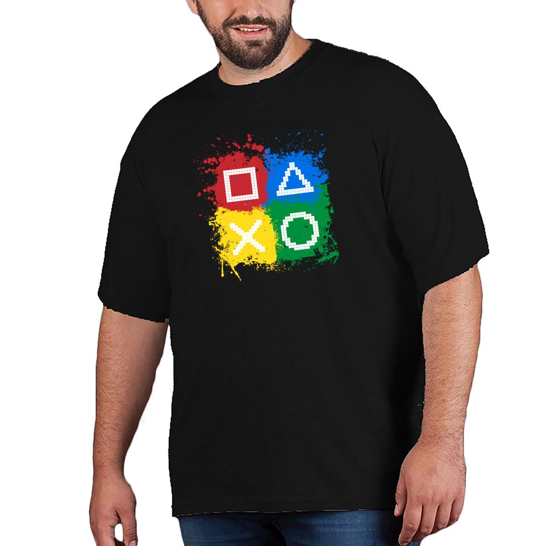 B72a1326 Gaming Controls For Gaming Lovers Gamers Men Plus Size T Shirt Black Front