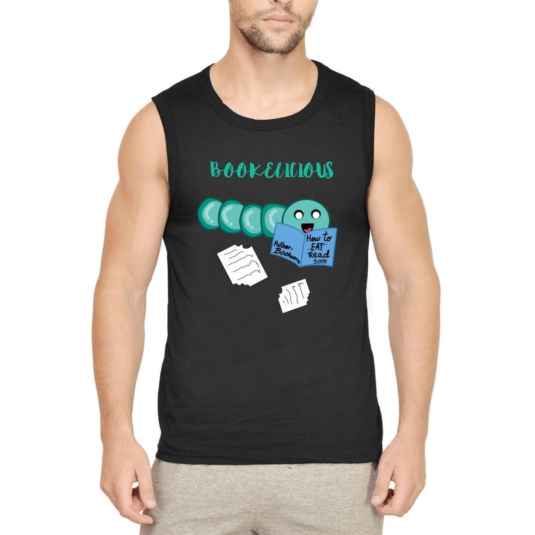 B8bc69db Bookelicious Bookworm Men Sleeveless T Shirt Vest Black Front.jpg