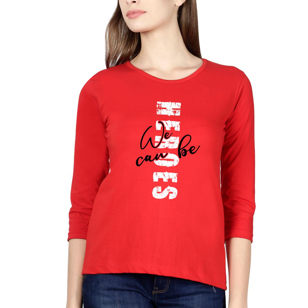 C2c55f7c Heroes Red Women Full Sleeve T Shirt Red Front
