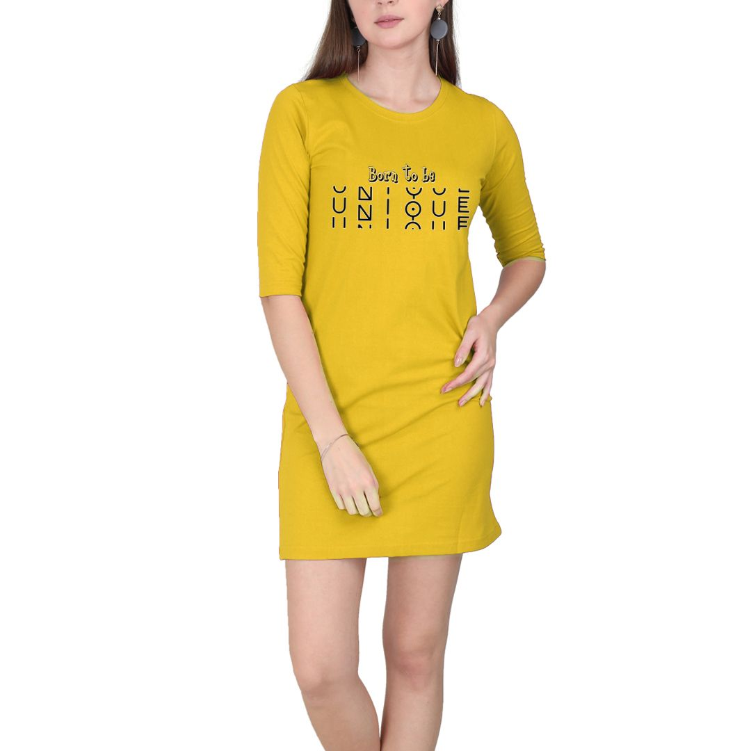 C722a4a7 Born To Be Unique Women T Shirt Dress Yellow Front.jpg