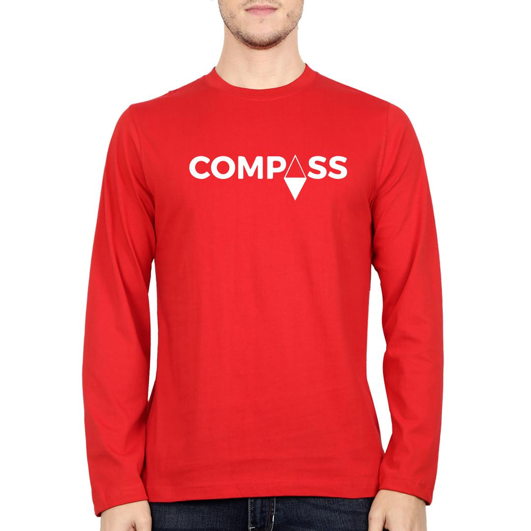 F23f42db Compass Men Full Sleeve T Shirt Red Front