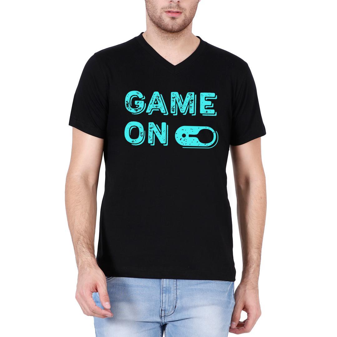 Fb93222b Game On Table Tennis Tt Men V Neck T Shirt Black Front