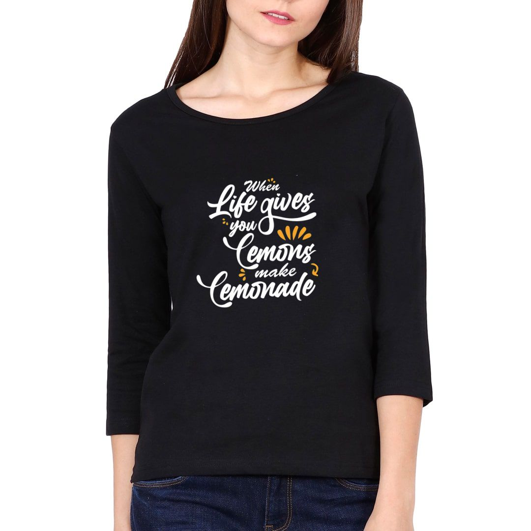 09bb570f Cool Attitude About Life Elbow Sleeve Women T Shirt Black Front.jpg