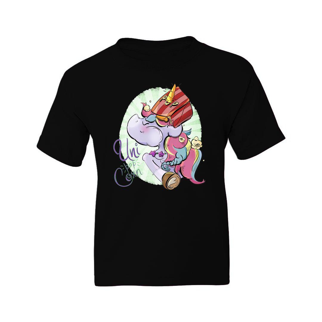 11332fc7 Uni Pop Corn Kids T Shirt Black Front.jpg