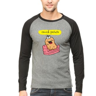 14afad5a couch potato for chilling and relaxing men raglan full sleeve t shirt black charcoal front.jpg