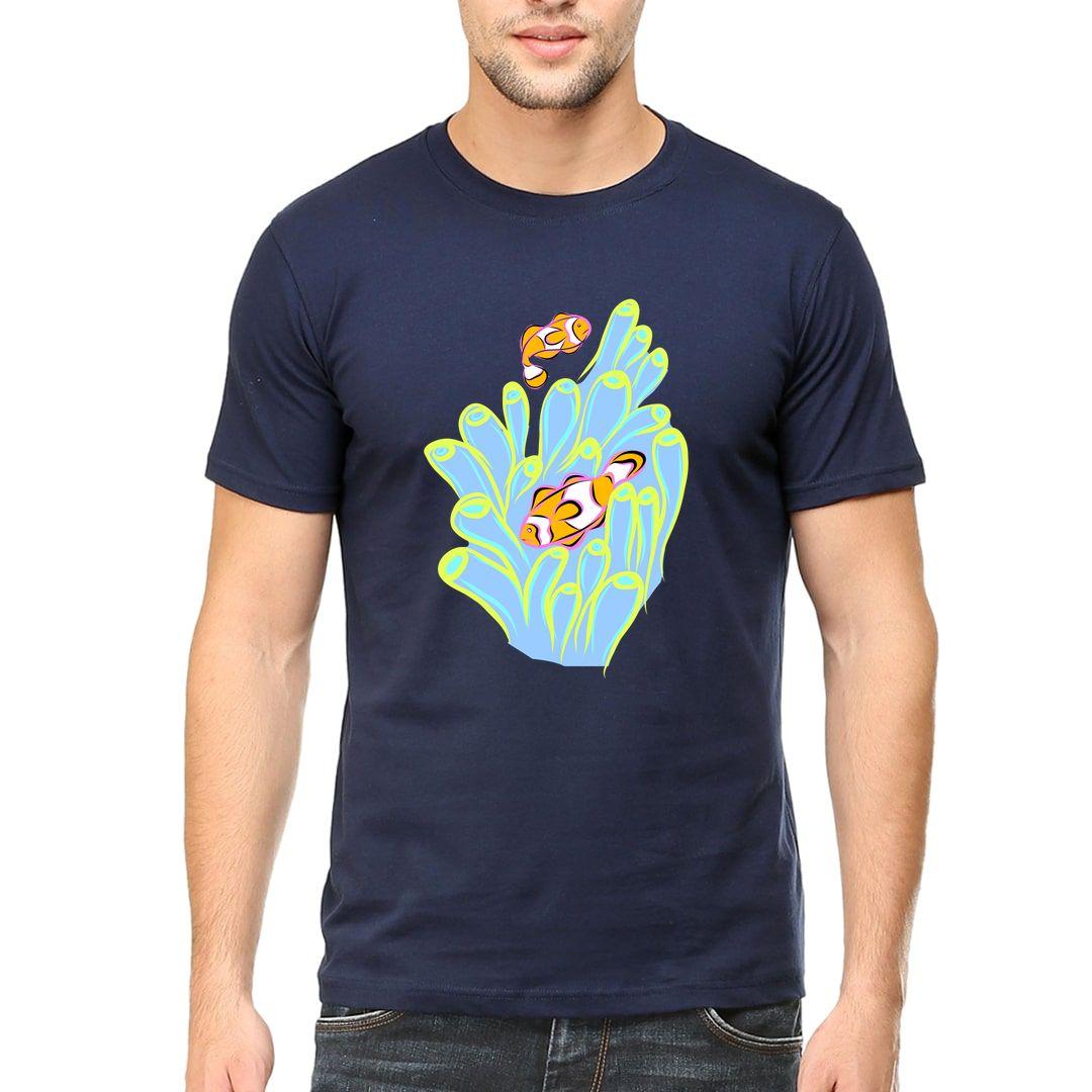 186f5f4d Clownfish Sea Anemone Men T Shirt Navy Front.jpg