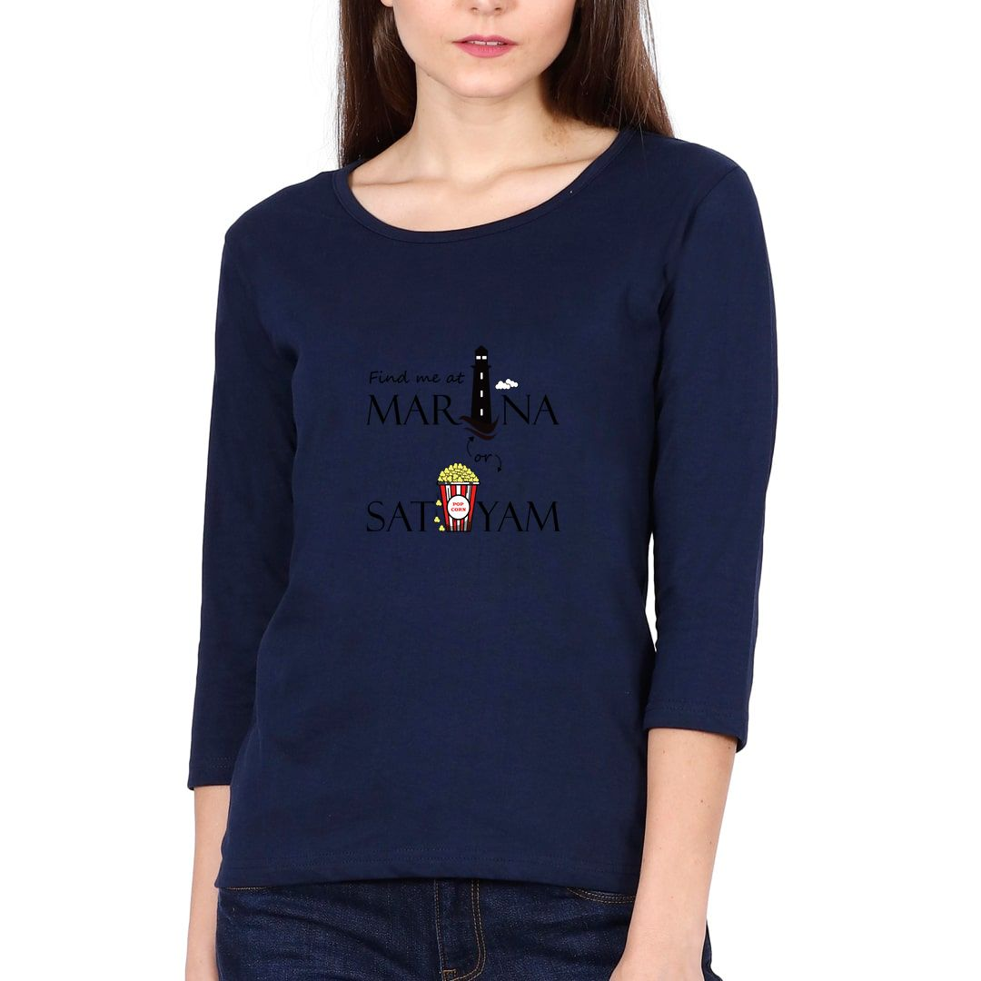 1d257d78 Find Me At Marina Or Satyam Elbow Sleeve Women T Shirt Navy Front.jpg