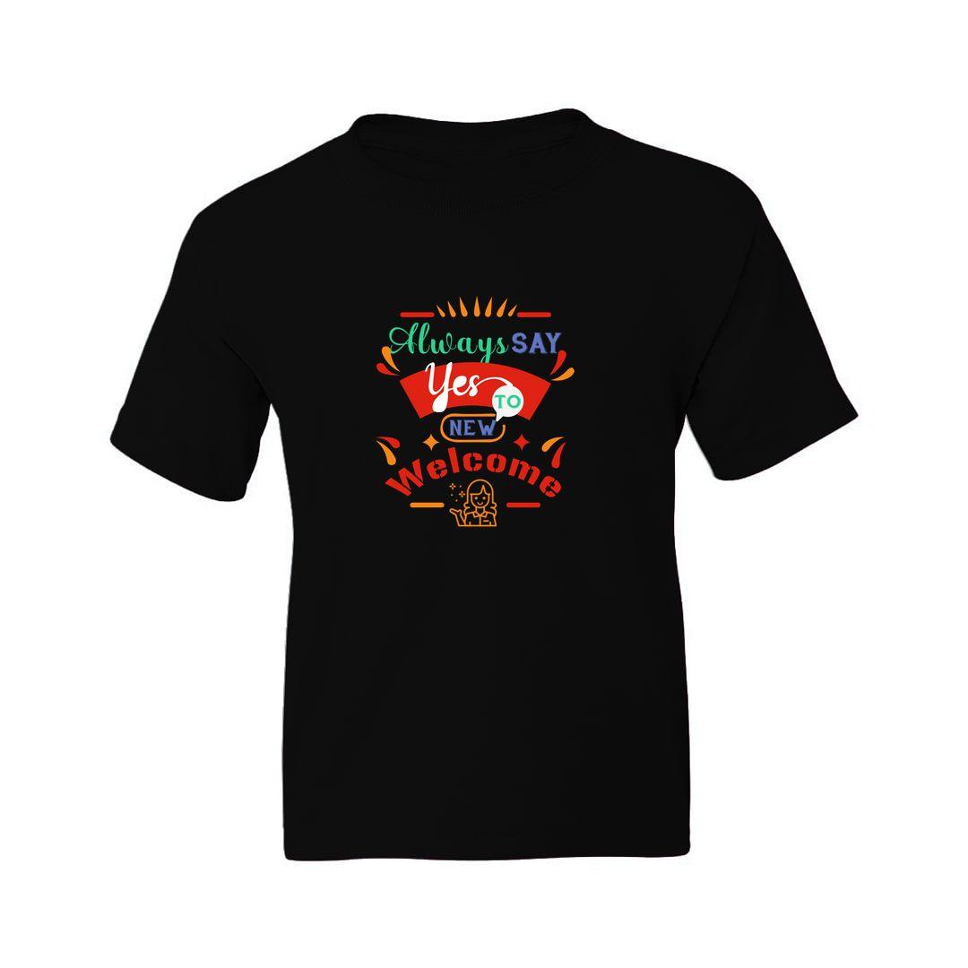 1d34a71c Postive Thinking Kids T Shirt Black Front.jpg