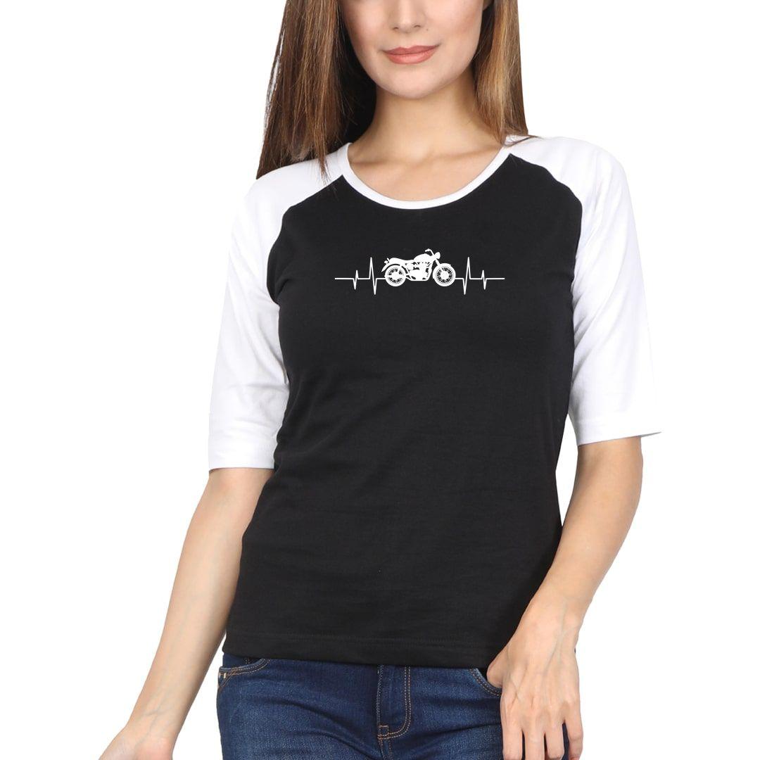 1d931123 Bikers Heartbeat For True Bike Lovers Women Raglan Elbow Sleeve T Shirt White Black Front.jpg