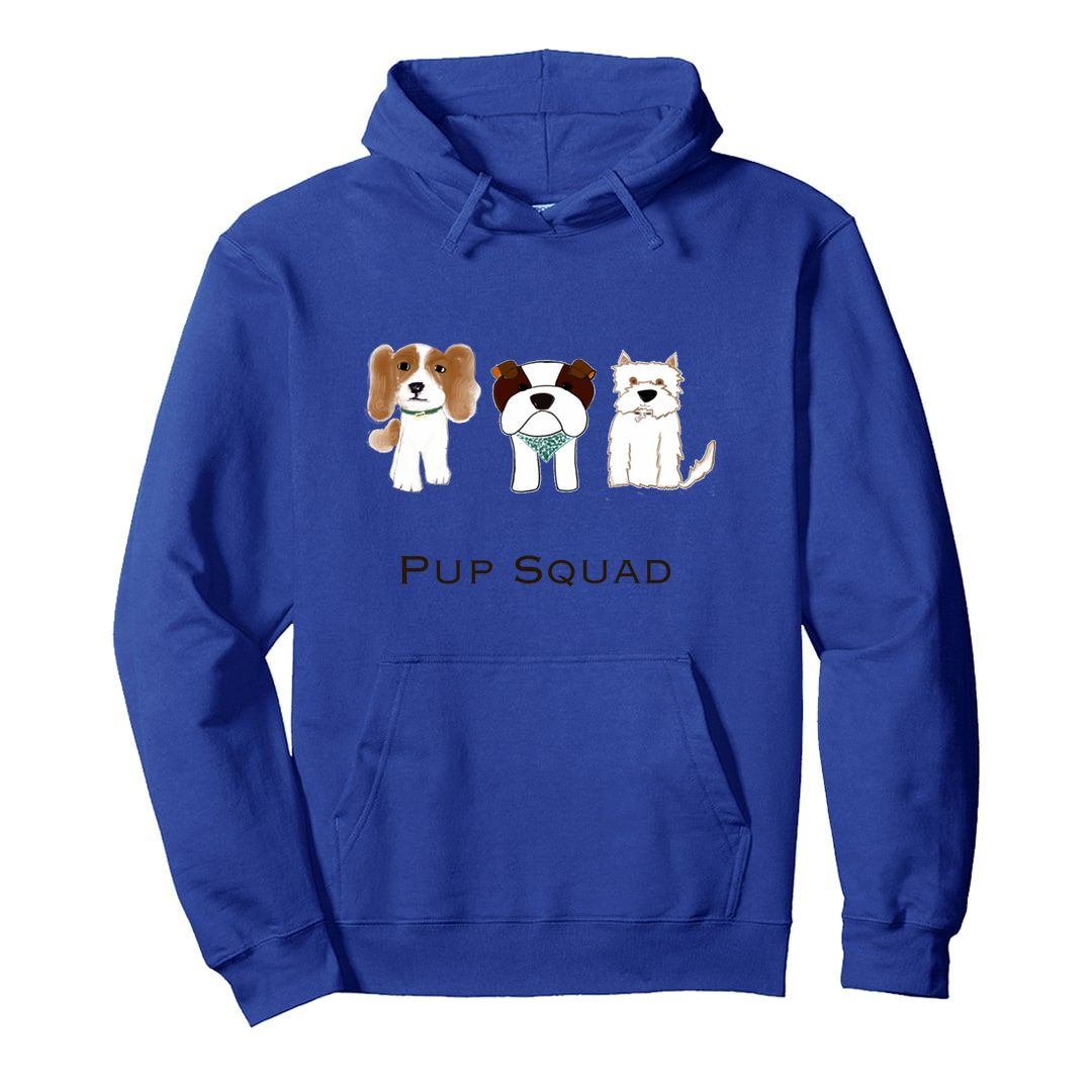 249c69f5 Pup Squad For Dog Lover Unisex Hooded Sweatshirt Hoodie Royal Blue Front.jpg