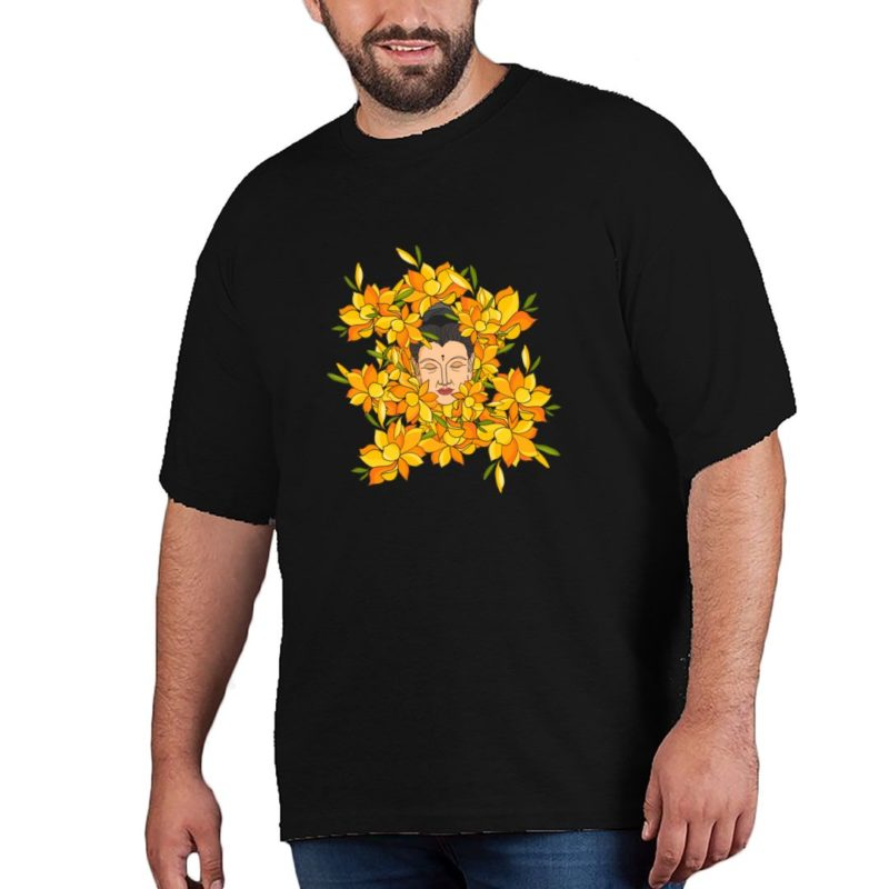 37226d66 abstract buddha with flowers plus size t shirt black front.jpg