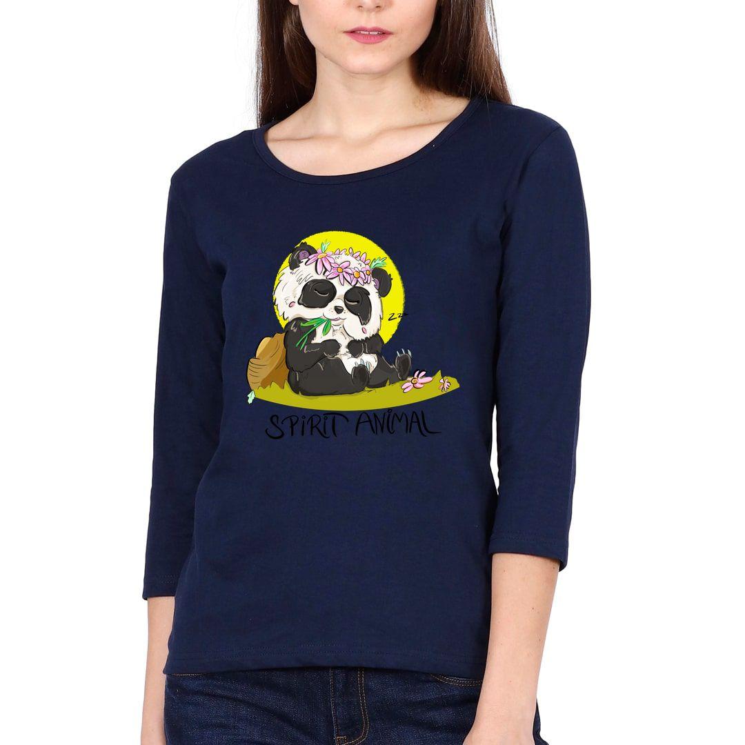 3aabf8a7 Panda Snooze Elbow Sleeve Women T Shirt Navy Front.jpg