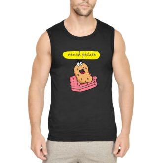 3fd00611 couch potato for chilling and relaxing men sleeveless t shirt vest black front.jpg