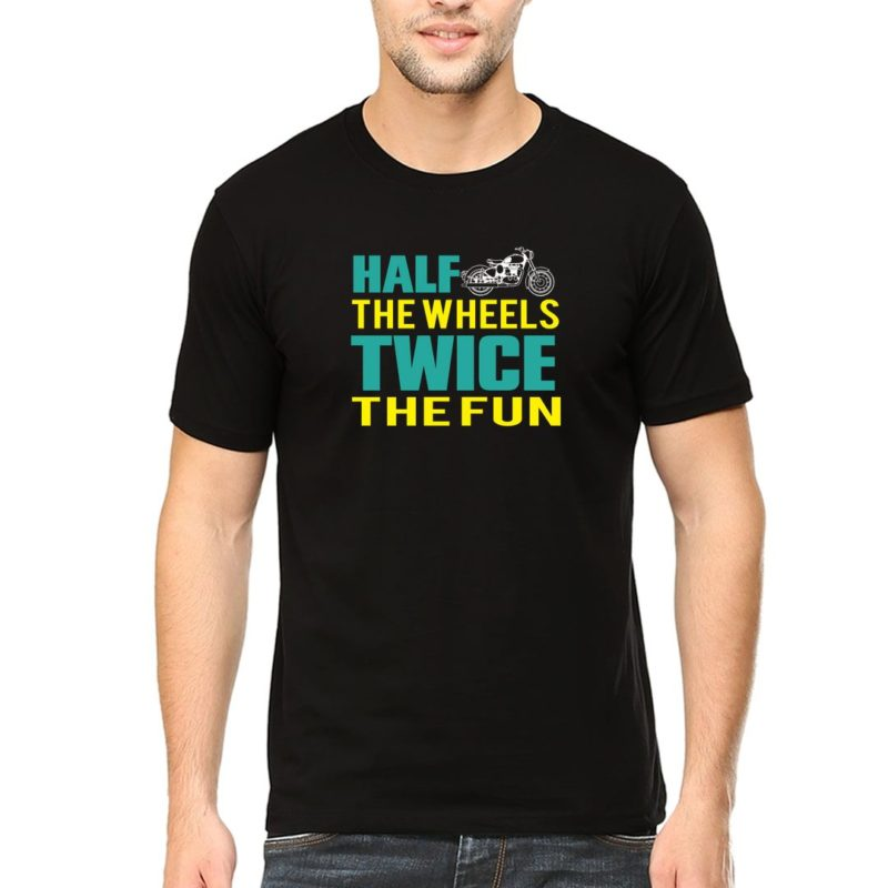 413395a2 half the wheels twice the fun for bikers and bike lovers men t shirt black front.jpg