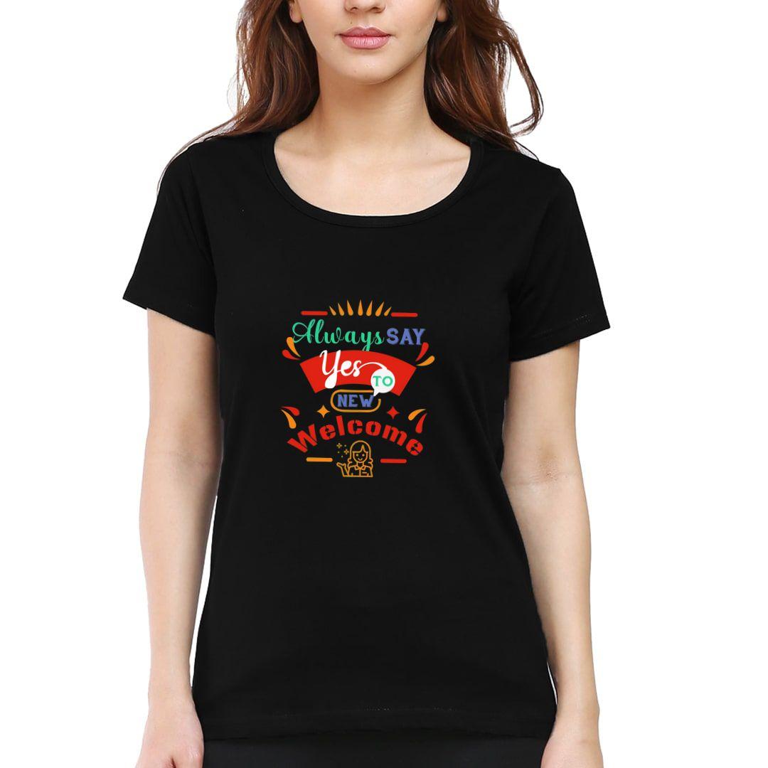 41bf3426 Postive Thinking Women T Shirt Black Front.jpg