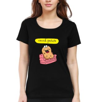 4512cc79 couch potato for chilling and relaxing women t shirt black front.jpg