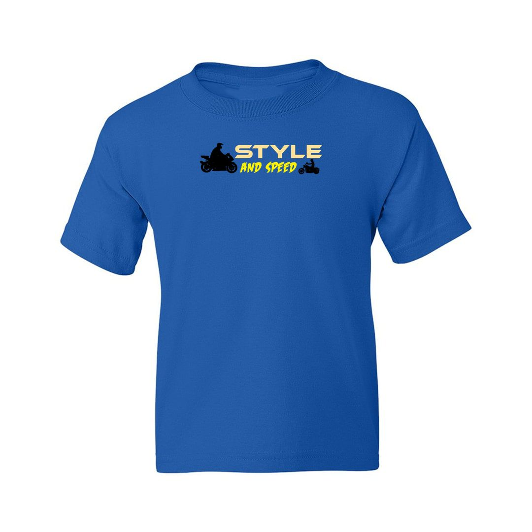 4f1578a1 Style And Speed For Bikers And Bike Lovers Kids T Shirt Royal Blue Front.jpg