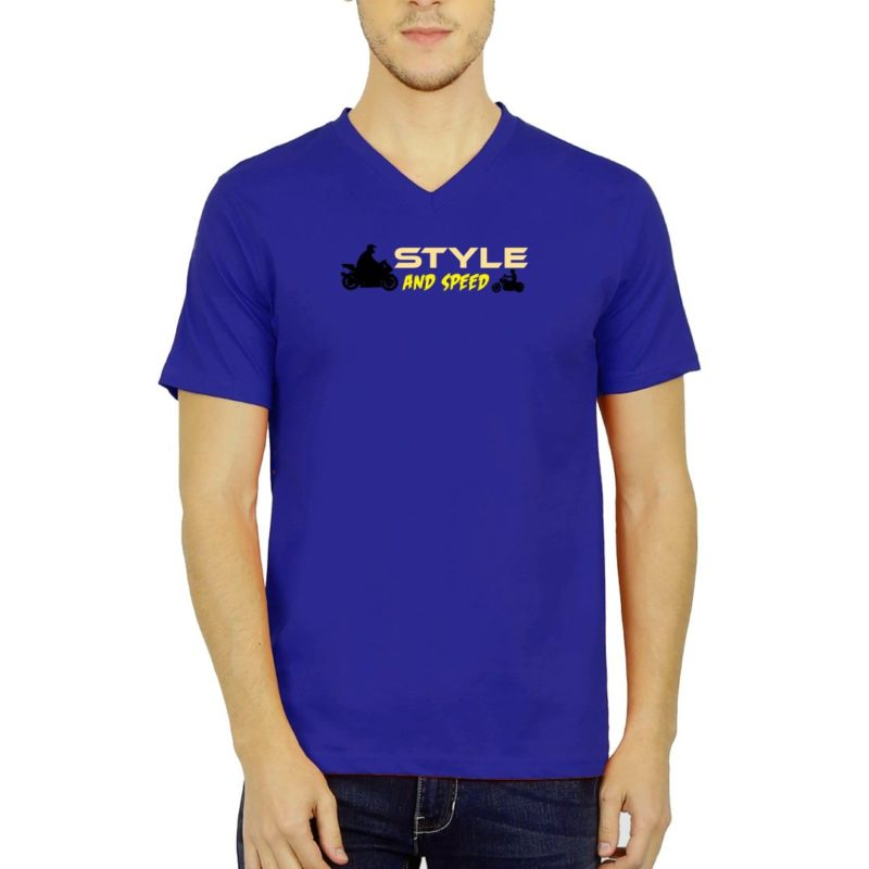 4f1578a1 style and speed for bikers and bike lovers men v neck t shirt royal blue front.jpg