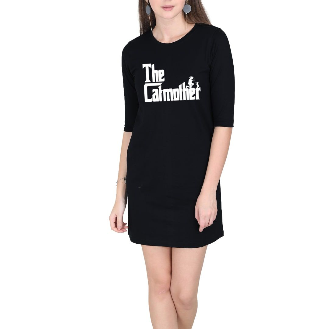 4f3cd0c0 The Catmother Classic Movie Pet Owner Dog Lover Gift Women T Shirt Dress Black Front.jpg