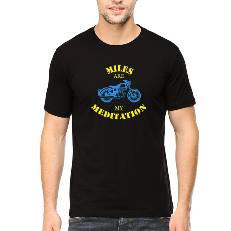 531c75c9 miles are meditation for bikers and bike lovers men t shirt black front.jpg