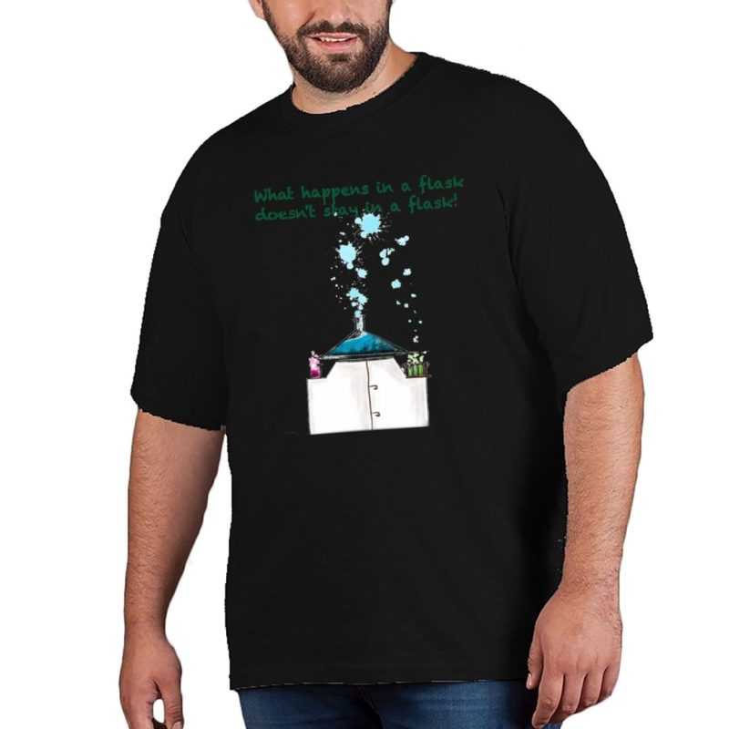66bd7c92 what happens in a flask for science lover plus size t shirt black front.jpg